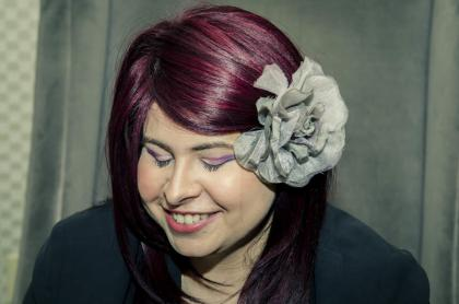 Breezer Rocks Candid Eyes with burgundy violet hair and purple cat eyes